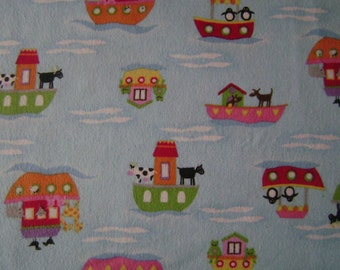 Animals on Boats Flannel Fabric by the yard