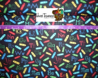 Multi Crayons and Letters Toss - Wilmington Prints - Cotton fabric - Choose your cut