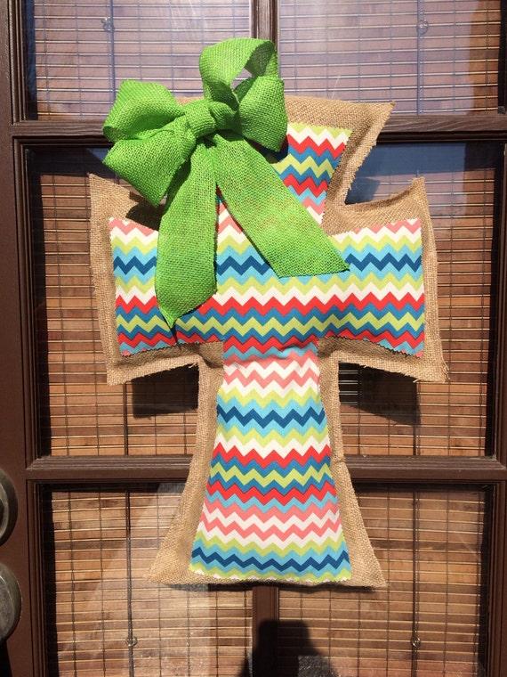 Chevron decorative burlap and fabric cross by naptimecrafters1 for Decorative burlap fabric