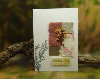 Thinking of You Card/ Hand Made Greeting Card/ Natural Flowers/ Cherry Blossom/ Hand Made Papers