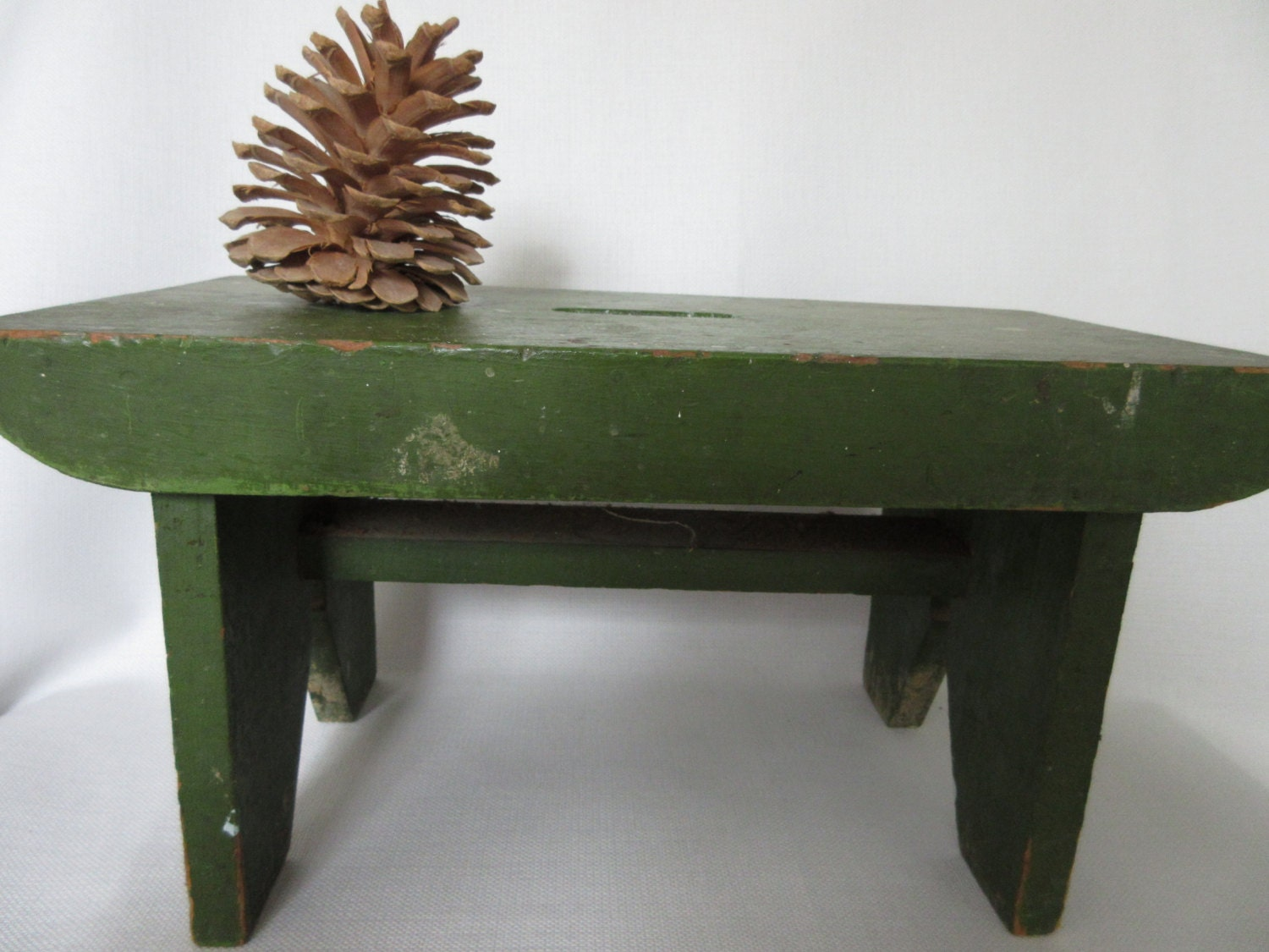Vintage Green Wooden Step Stool With Handle Grip By