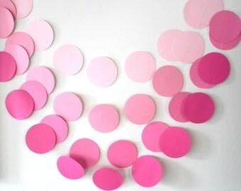 Pink Ombre Circle Garland Pink Bridal Shower Garland Pink Wedding Garland Girl First Birthday Garland Pink Party Garland Pink Ombre Decor