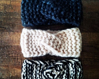 The Twisty Headband - chunky knit headband, warm knit headband, thick headband, bulky knit headband, chunky knit earwarmer,knitted earwarmer