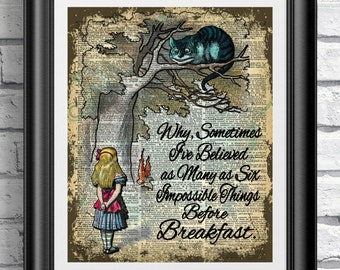 dictionary book page print alice in wonderland and cheshire cat art print on old book - Prints On Old Book Pages