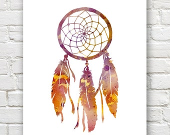 Dreamcatcher Art Print - Abstract Watercolor Painting - Wall Decor