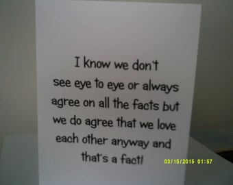 I know we don't see eye to eye Mother's Day card
