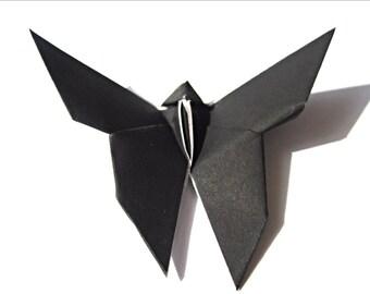 Garden Wedding Decoration , Midnight Black Origami Butterfly (50)