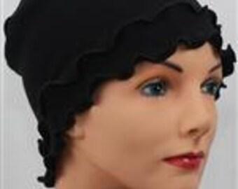 Lounge Sleep Cap Ruffle Chemotherapy, Alopecia in Black