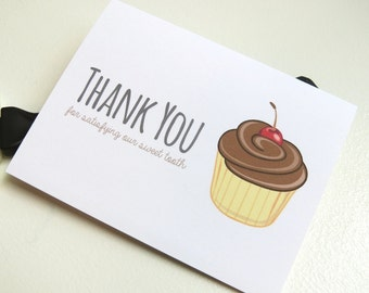 Wedding Card for Your Bakery or Cupcake Baker On Your Wedding Day - Thank You For Satisfying Our Sweet Tooth