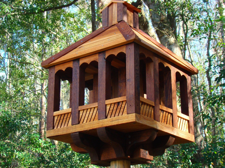 Cedar Wood Rustic Birdfeeder Gazebo Style Large Wooden