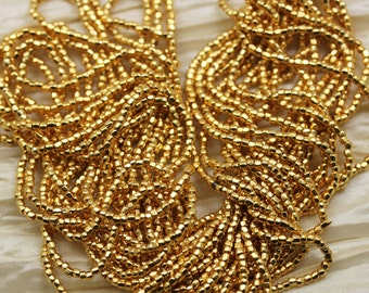 Rare find! 12/0 3Cut 24Kt Gold Plated Czech seed beads - 1 strand 14""