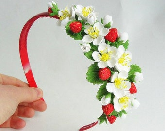"Headband ""strawberry"""