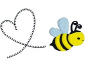 BUY 2, GET 1 FREE - Heart Honey Bee Machine Embroidery Design in 3 Sizes - 4x4, 5x7, 6x10