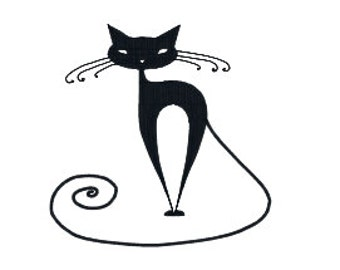 BUY 2, GET 1 FREE - Hipster Black Cat Filled Machine Embroidery Design, Geometric Animal in 3 Sizes - 4x4, 5x7 and 8x10