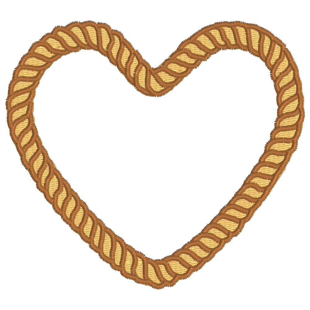 Buy 2 get 1 free western rope heart machine embroidery for Rope designs and more