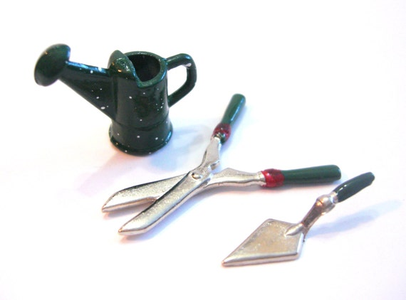 Sale miniature garden set hand clippers trowel tools for Miniature garden tools