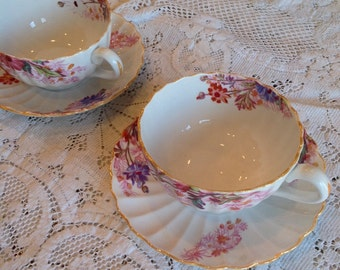 2 Vintage Cups and Saucers Chelsea Garden Mustard Trim