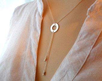 Collier en argent sterling 925, pendentif cercle 13.5mm avec deux petites  billes rondes en argent sterling 925, moderne, minimaliste