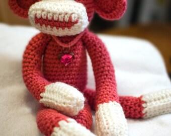 Crochet Sock Monkey, Pink Sock Monkey, Valentines Day, Sock Monkey for Her, Amigurumi Sock Monkey, Sock Monkey Toy, Sock Monkey Plush
