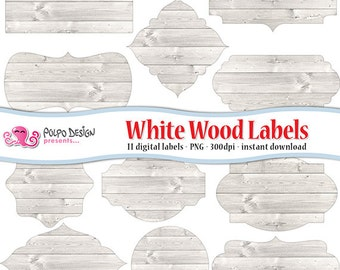 White wood digital labels clip art. Commercial & personal Use. Instant Download. PNG transparent background clipart frame label tag buttons.