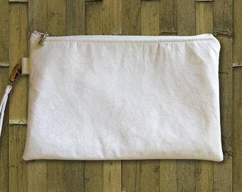 Clutch, Wedding Clutch, Bridal Clutch, Clutch Purse, Tropical Bag, Hawaiian Purse, White Plumeria or Palm Leaf Print - Made in Maui