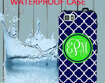 Waterproof iPhone 5 Case Gray Quatrefoil Monogram iPhone Case iPhone 5C Case Personalized iPhone 5  iPhone 5S Case Heavy Duty