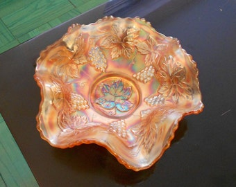"""Marigold Fenton Carnival Glass Ruffled Bowl with """"Vintage"""" Pattern"""