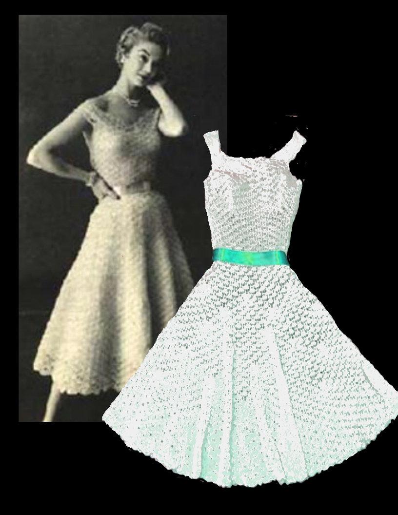 Sale crochet dress pattern digital download 1950s dress for Crochet wedding dresses for sale