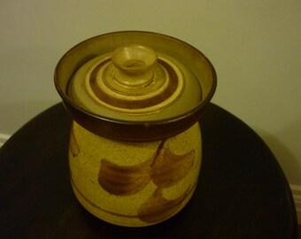 DerryWare Stoneware Lidded Jar. Sand Beige/ Brown Glaze. Irish Studio Pottery.  Rustic Vase. Made in Donegal Ireland