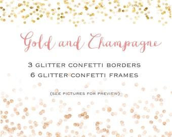 Glitter confetti set  - 6 Gold and champagne confetti frames + 3 glitter confetti borders