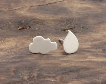 925 stering silver lovely cloud + rain drop stud earrings (E_00035)
