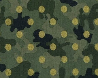Dear Stella Glamo Camo Hunter Green Cotton Woven Fabric