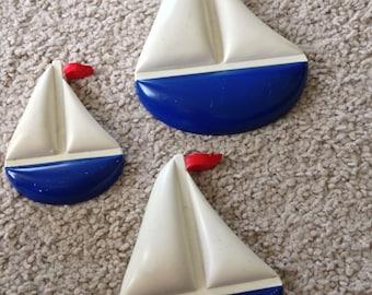 Three Sailing Ships Wall Decor by Homco