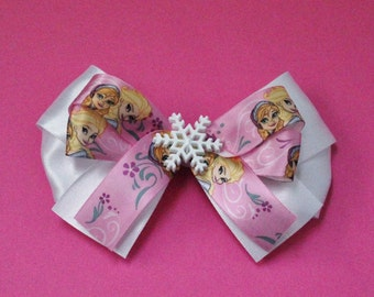 Anna and Elsa Hair Bow - Elsa and Anna Hair Bow - Frozen Hair Bow