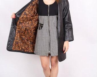 vintage black leather coat genuine leather jacqueline ferrar