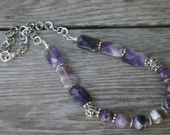 Amethyst Necklace, Purple Gemstone Necklace, Amethyst Jewelry, Amethyst and Silver