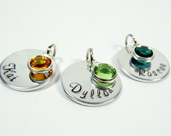 Add on bangle charm with birthstone