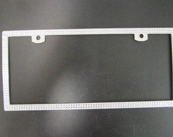 Bing silver rhinestone aluminum license plate frame