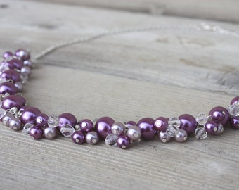 Lola Necklace - Purple and Silver Chunky Cluster Wire Wrapped Pearl and Crystal