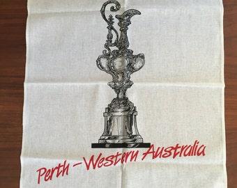 Vintage Perth-Western Australia Linen Tea Towel