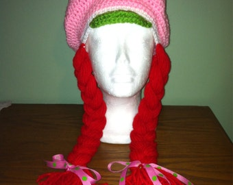 Crochet Strawberry shortcake hat