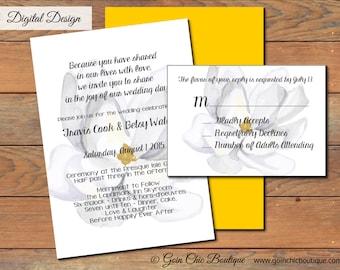 Printable Watercolor Magnolia Wedding Invitation, DIY, Watercolor Flower, Magnolia Invitation, Bridal Shower Invitation