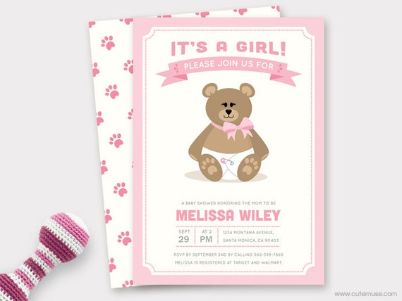 Girl teddy bear baby shower invitation printable baby shower invite il570xn filmwisefo Image collections