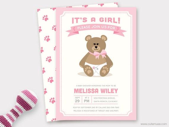 girl teddy bear baby shower invitation printable, baby shower, Baby shower invitations