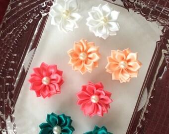 2 pcs,Fabric flower,flower applique,ribbon flower,scrapbooking flower,embellished flower,cardmaking flower,sewing flower,headband flower,142