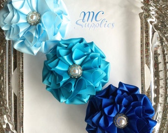 Blue ribbon flowers applique,satin flower applique,headband flowers,fabric flowers,handmade flowers,brooch flowers,sash flowers,170
