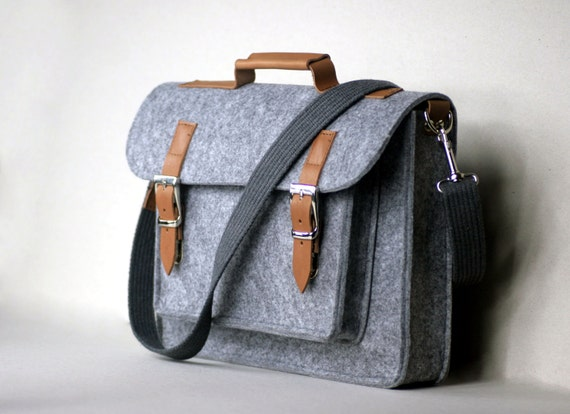 "SALE !!! FELT 15"" LAPTOP case, 15,6"" felt leather briefcase, genuine leather, felt laptop bag, customized"