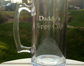 Daddy's Sippy Cup | Etched Beer Mug | Perfect gift for Dad