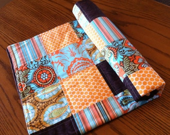 Orange, Brown and Turquoise Patchwork Minky Baby Quilt  29 x 33 Ready to Ship