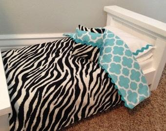 American Girl Doll Bedding, Zebra with Turquoise quatrefoil. Reversible 5 pc set